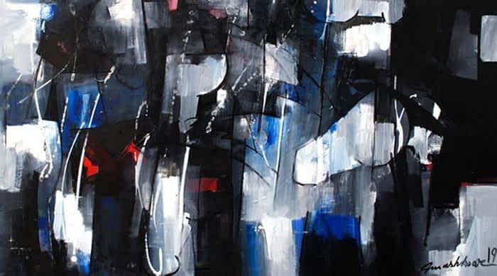 Artist Mashkoor Raza's bold and soft compositions