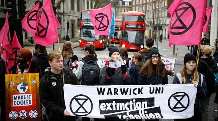 Extinction Rebellion protests hit London Fashion Week